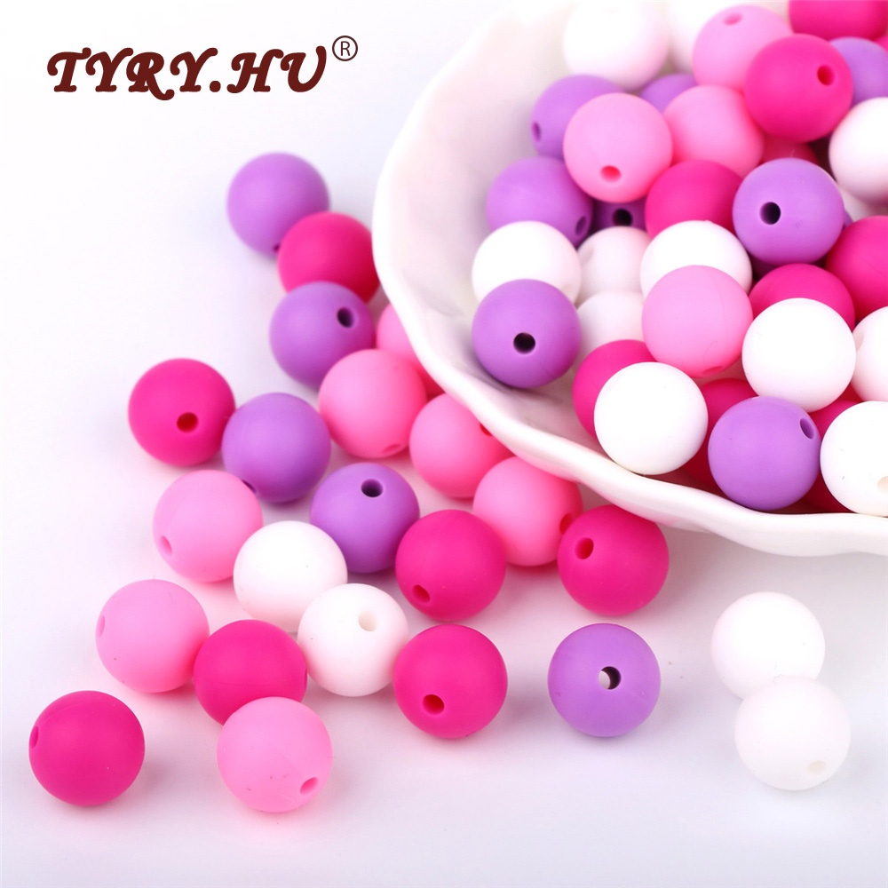 TYRY.HU 12mm 40Pcs Round Silicone Teething Beads BPA Free Food Grade Baby Chewable Beads Baby Teether Toys For Necklace Making