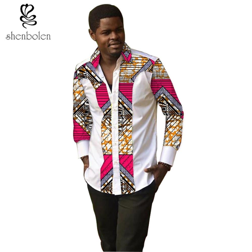 Shirt design for man 2017 - 2017 Fashion Summer Autumn Mens African Clothing Ankara Clothes T Shirt Cotton Stitching Batik Printing Tops