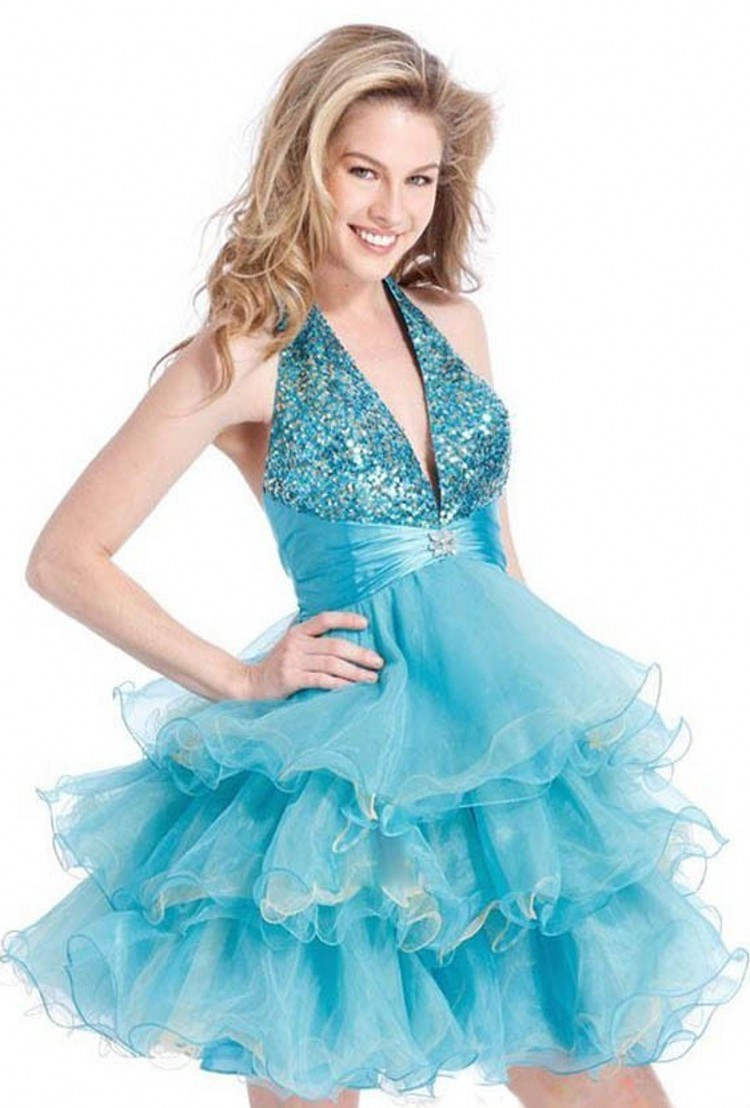 Ruched/Tiered/Sequined Homecoming Dresses Vestido De festa Curto ...