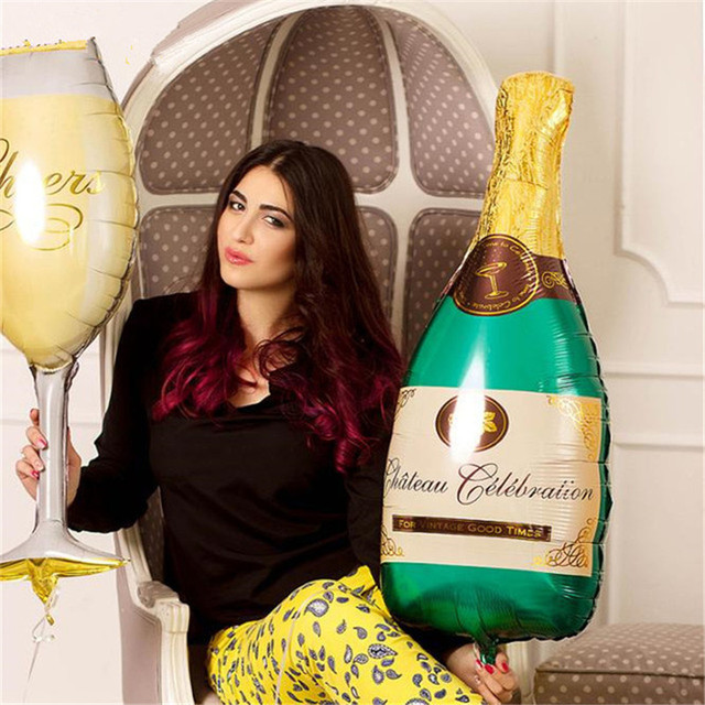 champagne cup beer glass whiskey bottle balloon crown balloon cocktail celebration helium foil balloon birthday party decoration