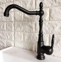 Swivel Auslauf Wasserhahn Öl Eingerieben Bronze Schwarz Einzigen Handgriff Single Hole Kitchen Sink & Bad Wasserhahn Becken Mischbatterie anf384| |   -