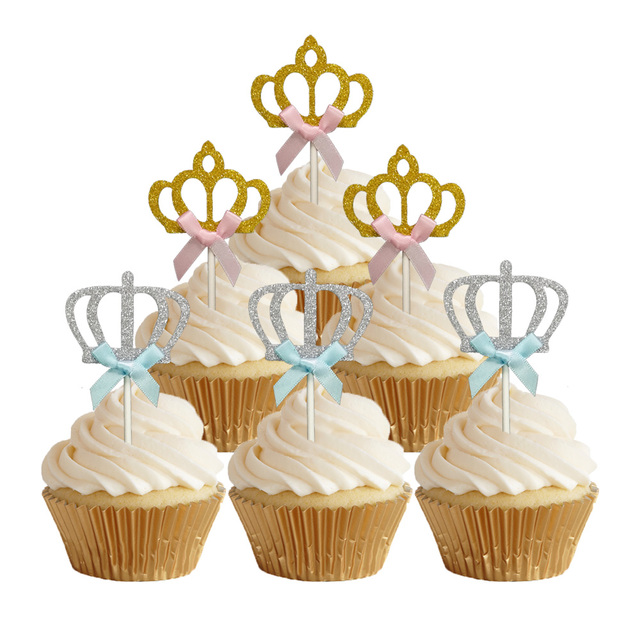 24pcs Luxury Silver Gold Crown Tiara Cake Toppers Baby Girls Boys