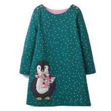 Платье для девочек с аппликацией животных, платье принцессы с длинными рукавами, Детский костюм, Robe Fille, Детские вечерние платья, одежда для маленьких девочек