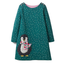 Girls Dress with Animal Applique Long Sleeve Princess Dress Children Costume Robe Fille Kids Party Dresses Baby Girl Clothes