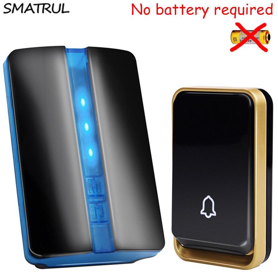 SMATRUL self powered Wasserdichte Funk-türklingel keine batterie EU US AU stecker Türklingel 1 taste 1 Empfänger LED licht