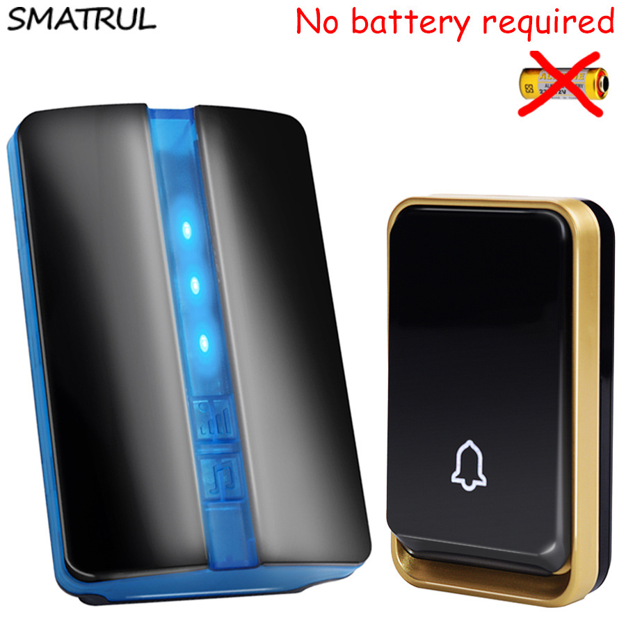 SMATRUL self powered Waterproof Wireless DoorBell no battery EU US AU plug Smart Door Bell chime 1 button 1 Receiver LED light