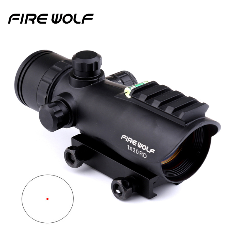 2018 New FIRE WOLF 1x30 Hunting Tactical Riflescopes Bubble Level Red Green Dots Optical Sight Scope Adjustable Rifle Gun Scope прицел коллиматорный utg leapers new gen 1x30 закрытый