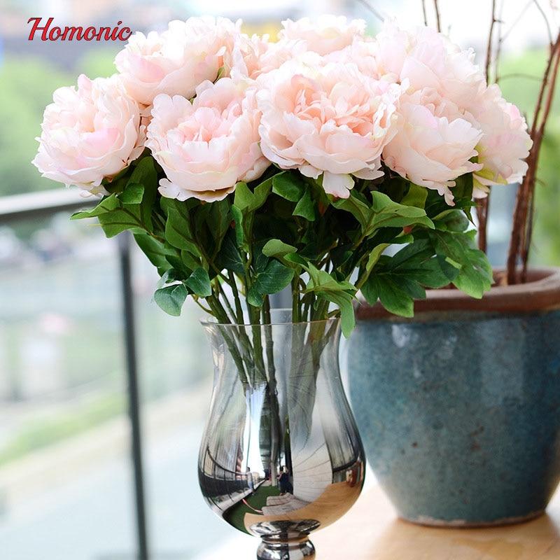 5 Köpfe bouquet pfingstrose blumenstrauß pfingstrose seidenblume - Partyartikel und Dekoration - Foto 2