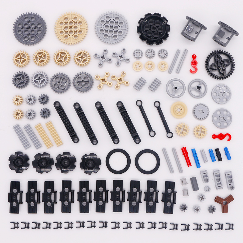Blocks Technic Parts Bulk Gear Axle Conector Wheels Pulley Chain Link Car Toys Mindstorms Compatible Accessories Building Bricks