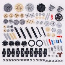 Blokken Technic Onderdelen Bulk Gear As Conector Wielen Katrol Chain Link Auto Speelgoed Mindstorms Compatibel Accessoires Bouwstenen