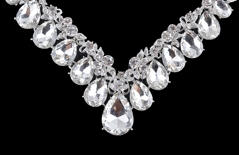 High quality wedding jewelry sets bridal silver necklace and earrings crystal rhinestone women party dress jewerly accessories 10