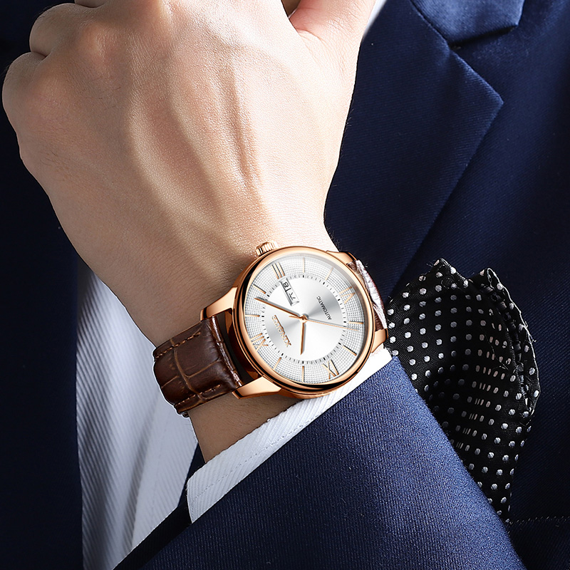 Reloj Mecánico Tourbillon de lujo 2019 para Hombre, Reloj de pulsera mecánico de cuero de oro rosa clásico para Hombre-in Relojes mecánicos from Relojes de pulsera    3