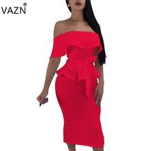 VAZN New Arrive Best Quality 2018 Bandage Dress Short Sleeve Midi Dress Sexy Strapless Club Dress S3315