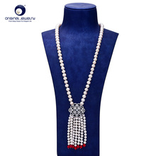 [YS] Fine Jewelry 8-9mm Natural White Freshwater Cultured Pearl Classic Sweater Necklace For Women 65cm Length Free shipping
