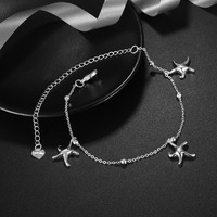 New Silver Color chain Pentagon anklets jewelry beach foot jewelry barefoot sandals ankle bracelets for women starfish anklet