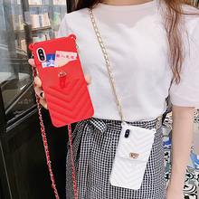 Wallet Case For iPhone 1211 Pro Max X 10 8 7 6s 6 Plus SE 2020XR XS Max Silicone Lady Shoulder Bag Cards Purse Phone Case Cover