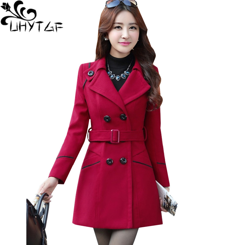 UHYTGF M-3XL Casual Autumn Winter Jacket Women Fashion Long Woolen Coat Double-breasted Belt Slim Elegant Ladies Outerwear 137