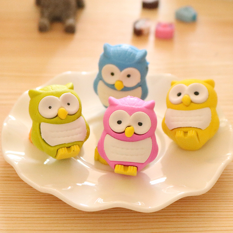 1Pcs New Creative Cartoon Owl Bird Candy Color Novelty Eraser Rubber Primary School Student Prizes Gift Stationery E0533