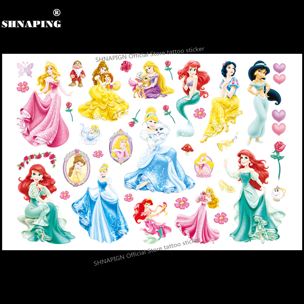 SHNAPIGN snow White Children Cartoon Temporary Tattoos Sticker Fashion Summer Style Elsa Waterproof Girls Kids Boys Hot
