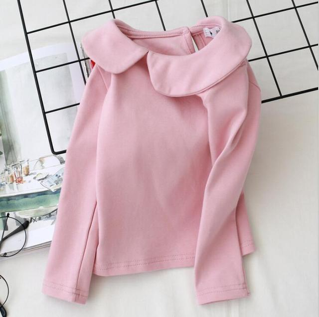 2018 New Autumn Baby Girls Blouse Children Kids Long Sleeve Shirt Girls Peter Pan Collar Under Shirt Fashion Spring Girls Tops