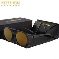 Keithion retro redondo óculos de sol polarizados steampunk homens marca designer óculos de sol máscaras proteção uv
