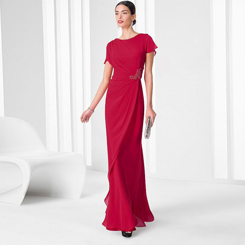 Red Evening Dress 2016 Short Sleeve Appliques Simple Long