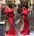 2016 mujer epaule Abendkleider rojo pecho plano De bal rouge de seda sirene bata formelle De De fiesta fiesta un pas cher túnicas