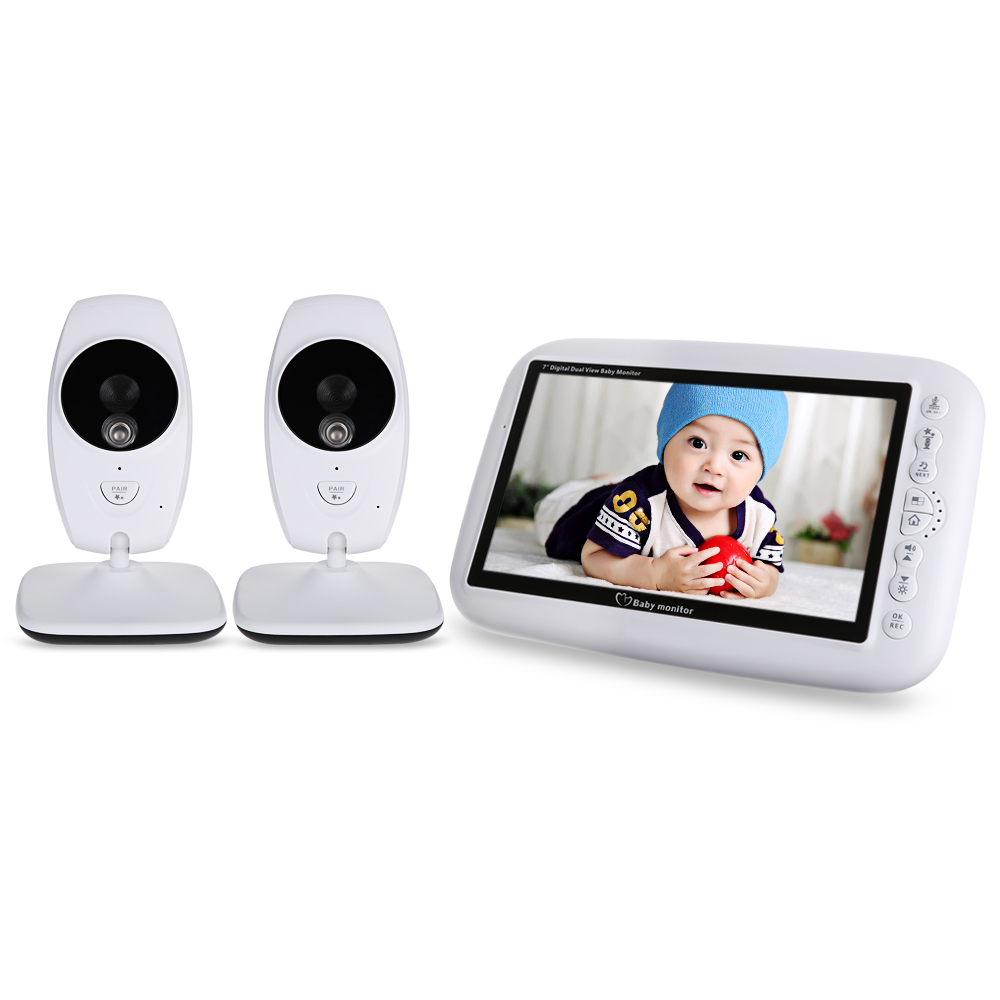 7.0 pouce 2.4 ghz Sans Fil TFT LCD 2 Caméra Vidéo Bébé Moniteur Avec Vision Nocturne Infrarouge Température Détection Nanny Moniteur