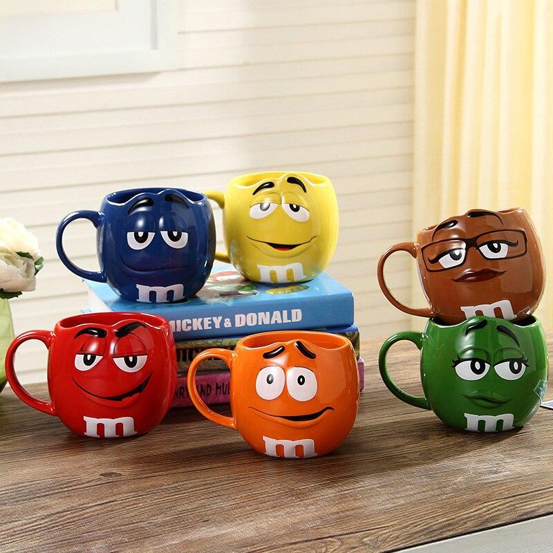 Cute M&M's MM Beans Coffe Milk Cupcup Ceramic Color Glaze <font><b>of</b></font> fruit juice <font><b>tea</b></font> <font><b>cup</b></font> saucer Water <font><b>Tea</b></font> bowl Oatmea water tool