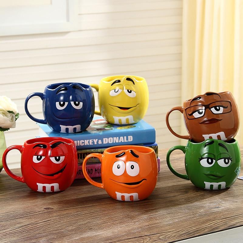 Cute M&M's MM Beans Coffe Milk Cupcup Ceramic Color Glaze of fruit juice tea cup saucer Water Tea bowl Oatmea water tool