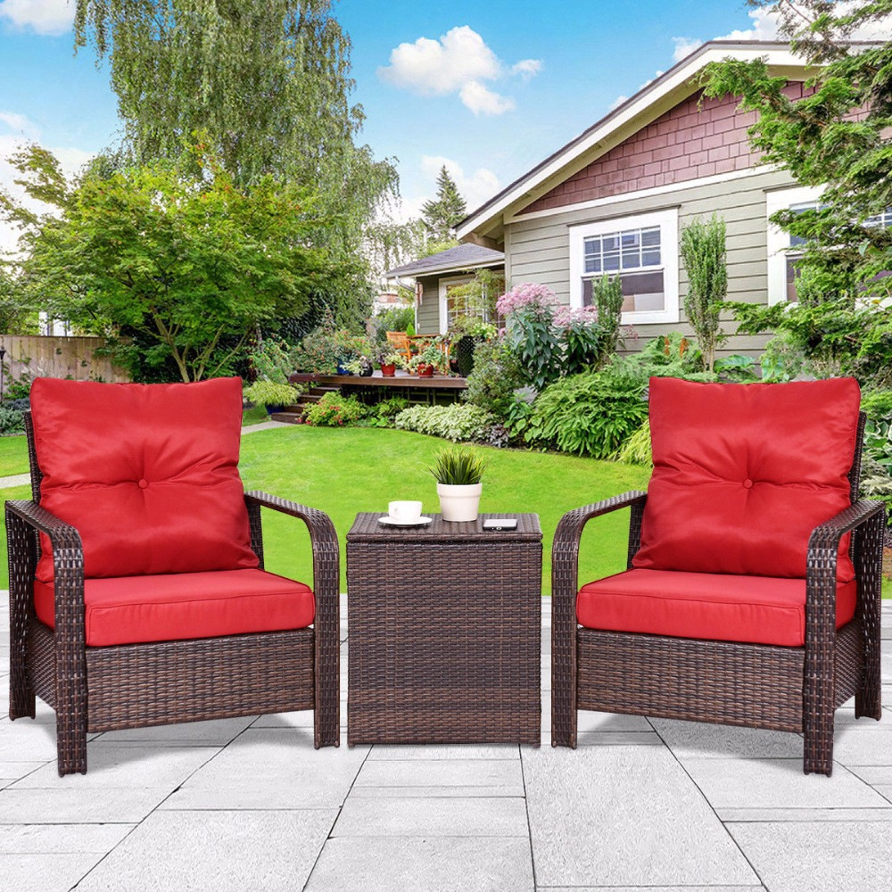 Giantex 3PCS Rattan Wicker Patio Bistro Furniture Set Chairs Storage Table W/Cushion NEW Outdoor Furniture HW58132+ цена