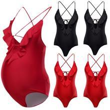 Pregnant Beachwear Women Maternity Bikini Swimwear Swimsuit Bathing Suit Solid Summer Leisure One-piece