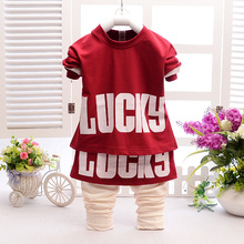spring and autumn 2016 new LUCKY kids high-grade cotton girls skirts pants t-shirt suit for children baby girl clothing set