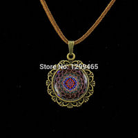 Vintage Glass Cabochon Statement Mandala Leather Necklace Summer Style Jewelry Vintage Oval Flower Printing Alloy Pendant L 231