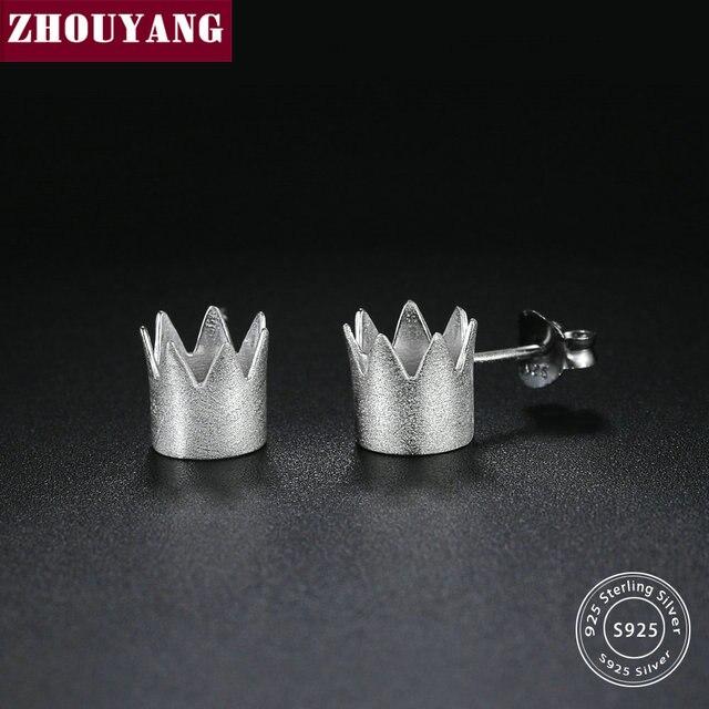 Aliexpress Zhouyang S925 Stud Earrings For Women Simple Style Crown Shaped 100 Real 925 Sterling Silver Fashion Jewelry Gift Ey027
