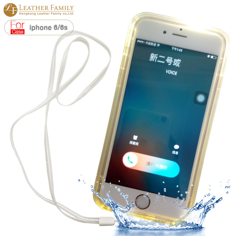 c5fd6cc5156 Para iphone 6 s plus funda impermeable ip54 vida a prueba de agua clara  caso de tpu de protección para iphone 6 plus 5.5 inch led de luz de flash  en de ...