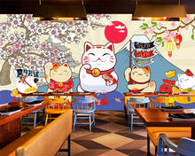 Beibehang mural Custom wallpaper Japanese sushi lucky cat restaurant cuisine background wall murals 3d
