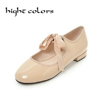 Brand Same Design Women Soft Buckle Belt Butterfly Bow Flat Shoes Female Lacing Ballet Shoes For