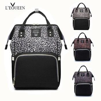 Lequeen saco de fraldas leopardo saco de fraldas cuidados com o bebê ao ar livre carrinho organizador saco de viagem maternidade retalhos mochila de enfermagem