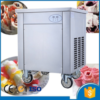 Round single pan roll fried ice cream machine factory price with 4 universal wheels