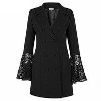 Women Black Blazer Jacket Lace Patchwork Flare Sleeve Fashion Button Blazers Cape Ladies Office Runway Blazer Coat Plus Size