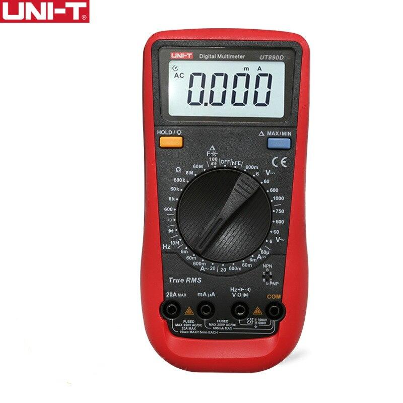 UNI-T UT890D Vrai RMS Multimètre Numérique de Test Électrique Handheld Tester Capacité DC AC Tension Ampèremètre hFE LED Diode