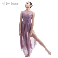Sequin Lace Bodice Lyrical Dress For Stage Or Performance Women Lyrical Ballet Dress Lady Dance Costume