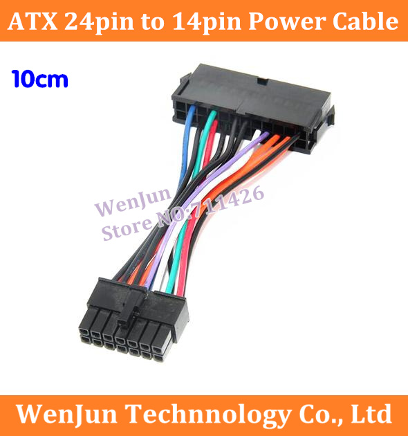bilder für 50 STÜCKE Freies Verschiffen 10 cm ATX 24 Pin Auf 14 pin Stromversorgung kabel 18awg draht kabel für lenovo q77 b75 a75 q75 motherboard kabel