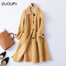 DUOUPA Womans Mid-length real fur coat Loose Thicker Granular Wool  Fur Coat parka natural abrigo mujer winter women