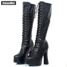 "Jialuowei נשים 5 ""שמנמן גבוהה העקב פלטפורמת עור מפוצל תחרה עד גובה הברך מוצק רוכסן מגפי אקזוטי, פטיש, סקסי, נעליים"