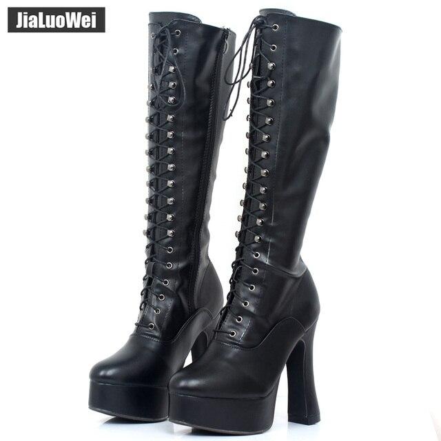 """Jialuowei kobiety 5 """"gruby obcas platforma PU skóra zasznurować kolana wysoka jednolita zamek buty egzotyczne, fetysz, Sexy, buty"""