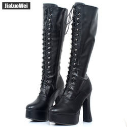 """Jialuowei Для женщин 5 """"на не сужающемся книзу высоком массивном каблуке на платформе из искусственной кожи на шнуровке сапоги до колена на"""