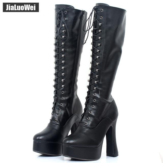 115b6f28c65 Lace up platform boots knee high