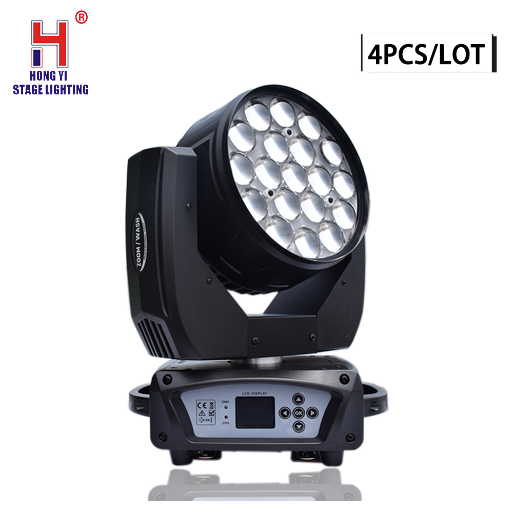 High Quality 19x15W Osram RGBW 4in1 LED Moving Head Light Perfect Zoom Wash Moving Head DMX DJ Stage Disco Light(4pcs/lot)